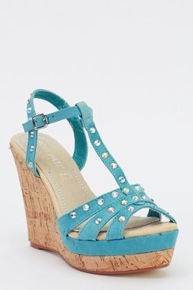 Cork Wedge Studded Sandals
