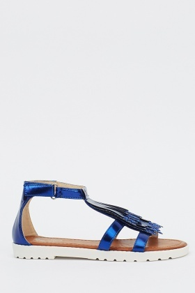 Fringed Glitter Front Sandals