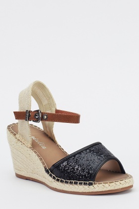 Glitter Contrast Wedged Sandals