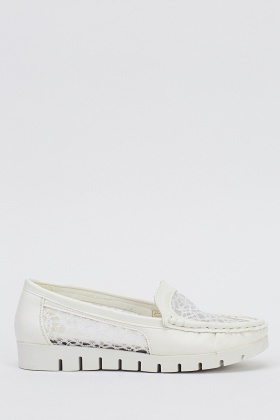 Mesh Insert Slip On Shoes