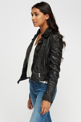 Muubaa Leather Quilted Patch Jacket