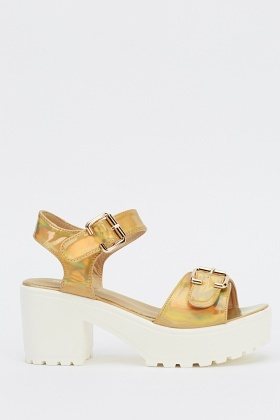 Twin Buckle Platformed Sandals