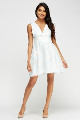 Zibi London Flocked Print Organza Dress