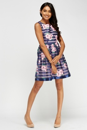 Zibi London Stripe Floral Print Dress