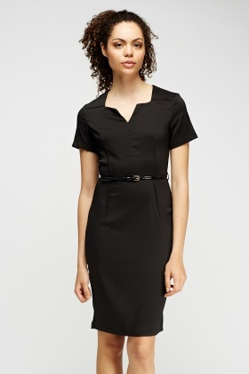 Black Pencil Belted Dress