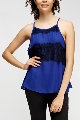 Lace Overlay Panel Cami Top