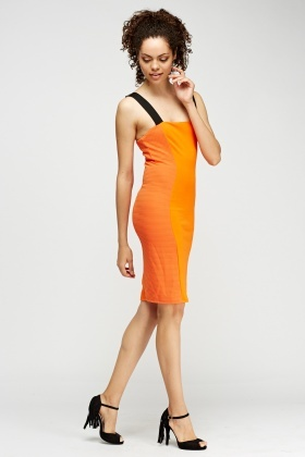 Orange Contrast Midi Dress