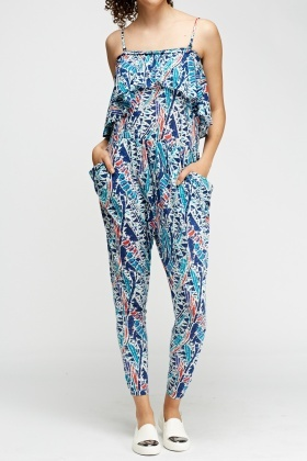 Overlay Flared Printed Jumpsuit