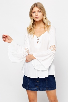 Lace Insert Flared Sleeve Top