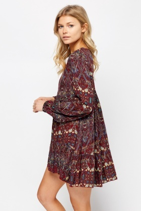 Mixed Print Flare V-Neck Dress