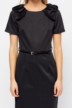 Ruched Sleeve Black Pencil Dress