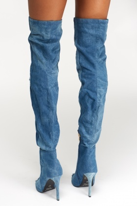 Peep Toe Over The Knee Denim Boots