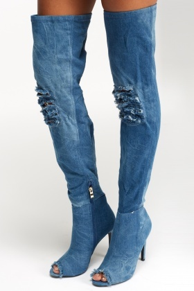 Sergio Todzi Peep Toe Over The Knee Denim Boots