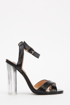 Cross Strap Perspex Heeled Sandals
