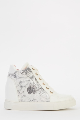 Embellished Contrast Wedge High Top Trainers