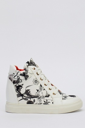 Floral Wedge High Top Trainers