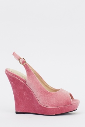 Velveteen Sling Back Wedge Heels