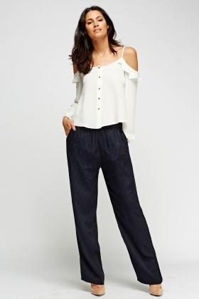 Jacquard Printed Navy Pants