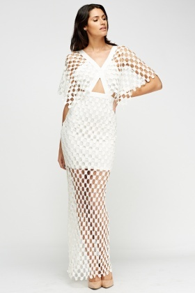 Mesh Overlay Cut Out Maxi Dress