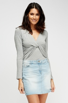 Ruched Grey Long Sleeve Top
