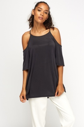 Cold Shoulder Basic Black Top