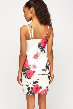 Floral Wrap Hem Bodycon Dress