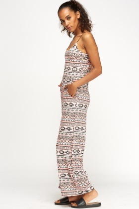 Geo Printed Wide Leg Jumpsuit