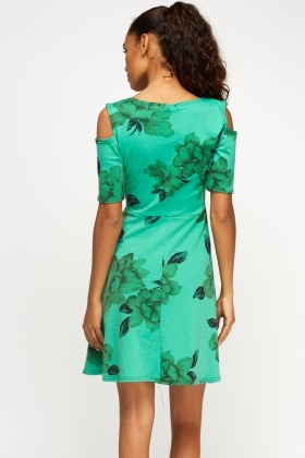 Green Floral Cold Shoulder Shift Dress