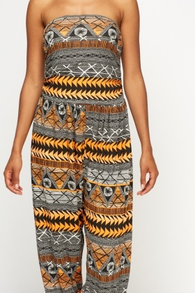 Mixed Print Bandeau Jumpsuit
