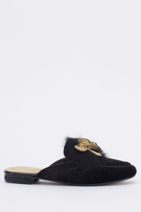 Bow Badge Faux Fur Slip On