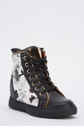 Printed Wedge High Top Trainers