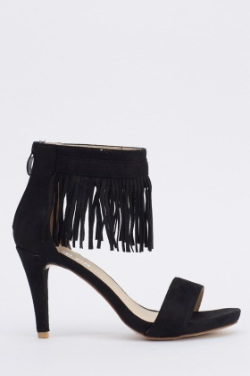 Tassel Ankle Suedette Heeled Sandals
