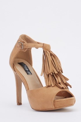 Tassel T-Bar Suedette Heeled Sandals