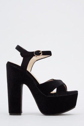 Velveteen Block Heeled Sandals