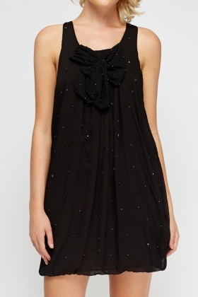 Embellished Ruched Sleeveless Dress
