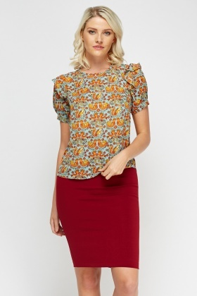Flared Sleeve Printed Blouse