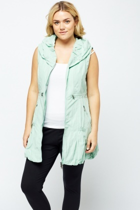 Ruffled Collar Zip Up Gilet