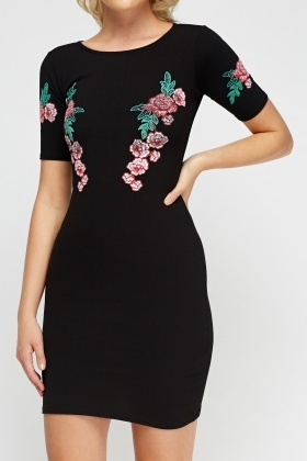 Textured Floral Bodycon Dress
