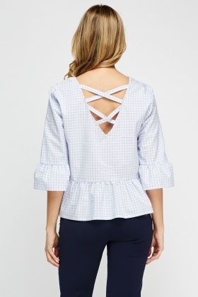 Detailed Back Check Flared Top