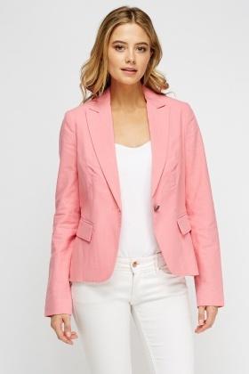 156892bdc639ae Lapel Front Pink Blazer