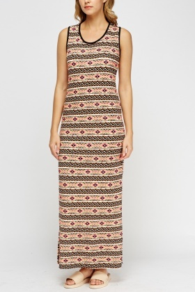 Slit Side Printed Maxi Dress