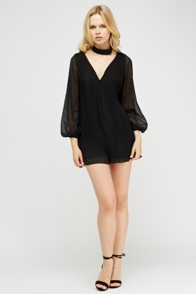 Pleated Contrast Playsuit