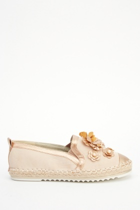 3D Floral Embellished Espadrille Shoes