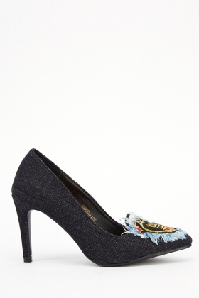 Embellished Front Court Denim Heels