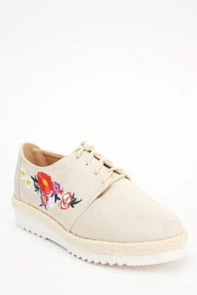 Embroidered Suedette Lace Up Shoes