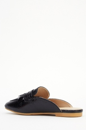 Faux Leather Backless Loafers