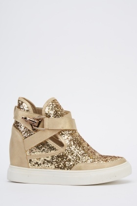 Glitter Embellished Wedge High Top Trainers