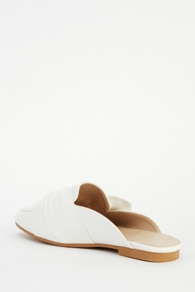 Knot Faux Leather Slip On Shoes