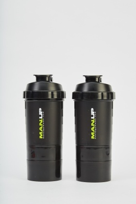 Pack Of 2 Black Protein Shaker Bottles