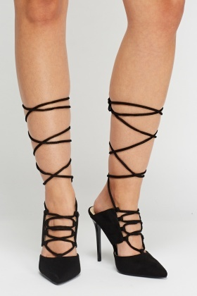 Tie Up Court Suedette Heels